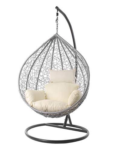 Kideo® Komplettset: großer Hängesessel mit Gestell & Kissen, Lounge Möbel, Poly-Rattan, XXL, grau (Kissen: Elfenbein Nest (0050 Ivory))