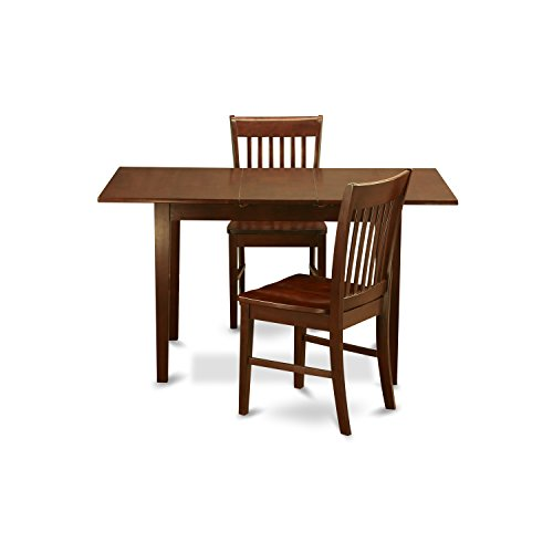 NOFK3-MAH-W 3 Pc Kitchen nook Dining set - Table with a 12in leaf and 2 Dining Chairs