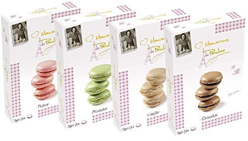 Macarons de Pauline 4er Set, Erdbeere, Pistazie, Vanille, Schokolade (4x72g)