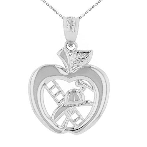 925 Sterling Silber New York Feuerwehr Big Apfel Firefighter Damen Anhänger Halskette (Kommt mit eine 45 cm kette)