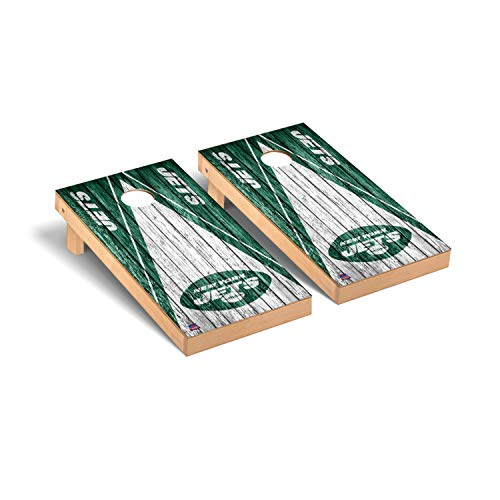 Victory Tailgate Regulation NFL Triangle Weathered Series Cornhole Board Set - 2 Boards, 8 Bags - New York Jets