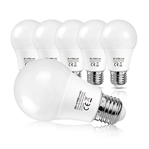 Shine Hai Bombillas Led E27 A60, Equivalente a 60W, 8W A60 800Lm, Blanco Frío 6500K , no Regulable, 6 Unidades