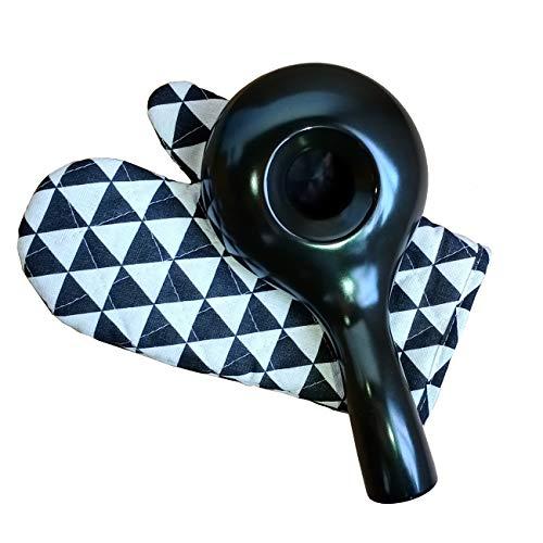Elegante tostador de grano de café de cerámica con golve para cocinar y hornear.