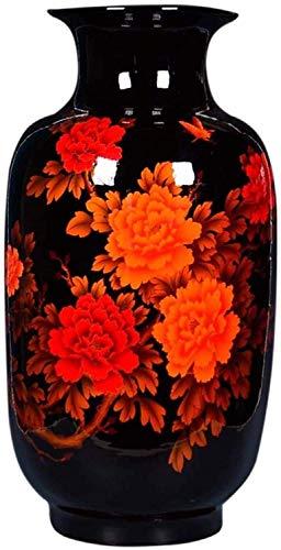 FTFTO Living Equipment Vase Ceramic Highgrade for Home Household Wedding Living Room Bedroom Office Table Black 30 x 60 cm Decorations