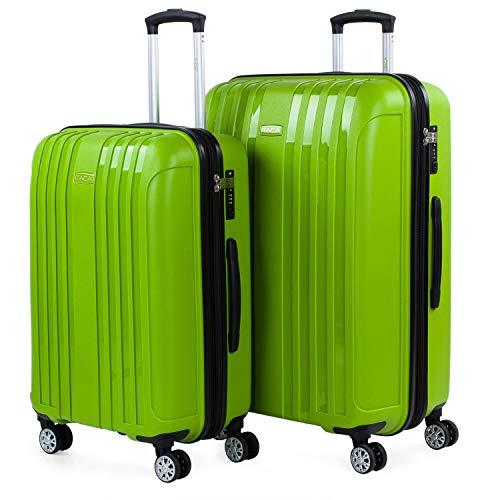 ITACA - Juego de Maletas de Viaje Rígidas 2 Pzs. Set Trolley 4 Ruedas (Mediana + Grande) Resistentes y Robustas. Conjunto Equipaje Avión....