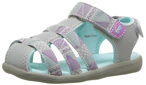 See Kai Run Girls' Paley Webbing Sport Sandal, Gray, 7 M US Toddler