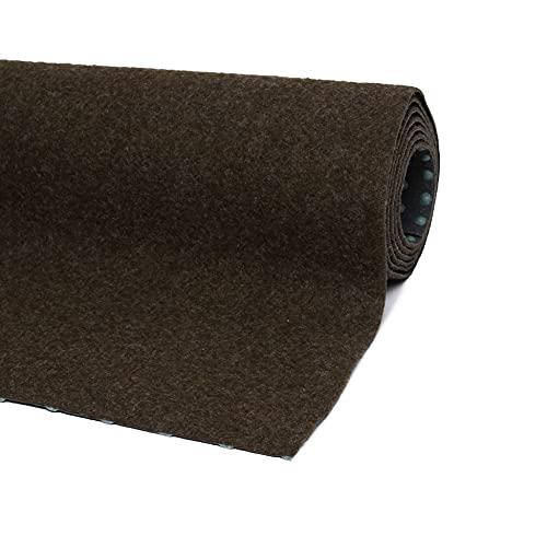 misento Rasenteppich Easy Kunstrasen strapazierfähig, robust, pflegeleicht mit Drainage Noppen braun 400 x 200 cm