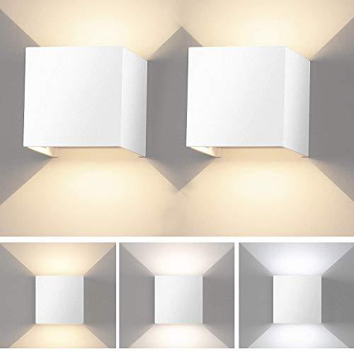 2 Pcs Lámpara de Pared Interior LED Apliques Pared Moderna Regulable Lampara Pared con Luz Tricolor Aplique cuadrado Pared Blanco IP65 Impermeable