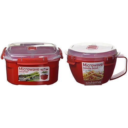 Sistema Microwave Dampfgarer, mittelgroß mit herausnehmbarem Korb, 2,4 l, rot/transparent & 1109 Mikrowellen-Nudelbowl To Go, 940 ml, rot