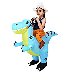 6. FunsLane Halloween Inflatable Ride on Dinosaur Costume for Kids