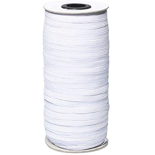 Elastic for Sewing 1/4 inch Elastic Cord Wide Braided Stretch Strap for DIY Sewing Crafting 100 Yards Flat (White, 6mm)