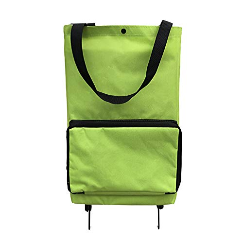 Foldable Trolley Shopping Bag, Portable 2 in1 Shopping Cart with Wheels and Adjustable Handle, Reusable Oxford Cloth Travel Bag,Green,L