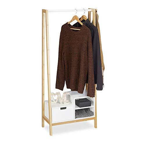 Relaxdays Garderobenständer mit Ablagen, Schublade, Kleiderstange, Bambus & MDF, HxBxT: 139,5 x 64,5 x 31 cm, Natur-weiß, 139.50 x 64.50 x 31.00 cm