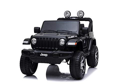 Babycar Jeep  Wrangler Rubicon 2 Posti 12 Volt con Sedile in Pelle Macchina Elettrica Jeep per Bambini Porte apribili con Telecomando 2.4 GHz Soft Start Full Optional (Nera) (Nero)