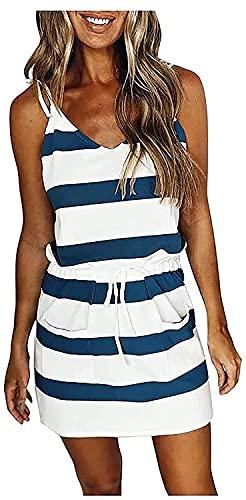 DLRBDMM Vestido de mujer con correa de espagueti casual a rayas, con bolsillos, sin mangas, suelto, color azul oscuro, talla XXL: