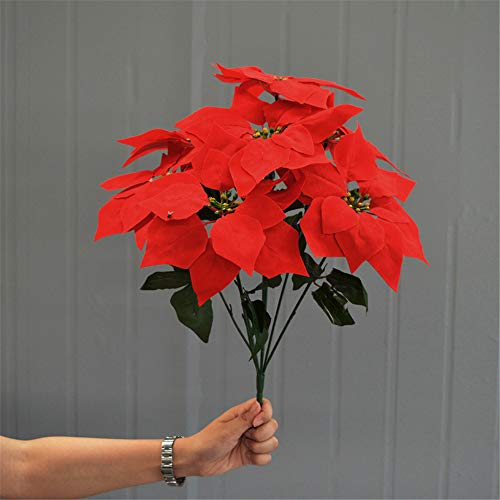 Hunt Gold Artificial Xmas Red Flower Poinsettia Simulation Christmas flower Bunch Bush,(7 Heads Per Bunch)