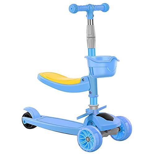 Vinteky 2 en 1 Patinete de 3 Ruedas de LED Luces para Niños de 2-8 Años Scooter Plegable Patinete Infantil Manillar Altura Ajustable (Azul)