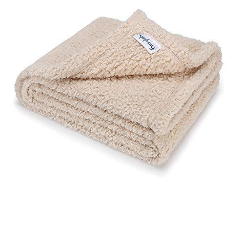 furrybaby Premium Flauschige Fleece Hundedecke,Weiche und Warme Hündchen Decke für Hund und Katze (M 80x100cm, Beige)