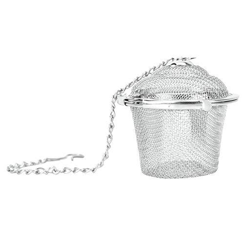 Cesta de malla reutilizable para infusiones de te y cafe, colador de te de acero inoxidable, filtro de hierbas y especias con cadena L
