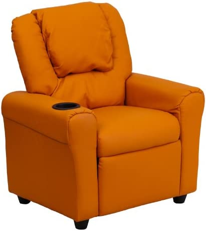 Best Flash Furniture DG-ULT-KID-ORANGE-GG Contemporary Orange Vinyl Kids Recliner with Cup Holder and Hea