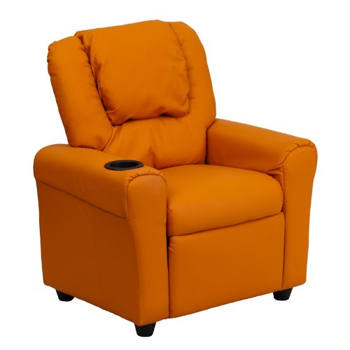 Flash Furniture DG-ULT-KID-ORANGE-GG  Contemporary Orange Vinyl Kids Recliner with Cup Holder and Headrest