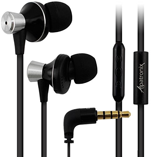Alpatronix EX100 High Performance Noise Isolating Tangle Free Earbuds w/Built-in Mic, 3-Button Volume/Playback Control Compatible for iPhones, iPads, iPods, MacBook & Other iOS Devices - Black