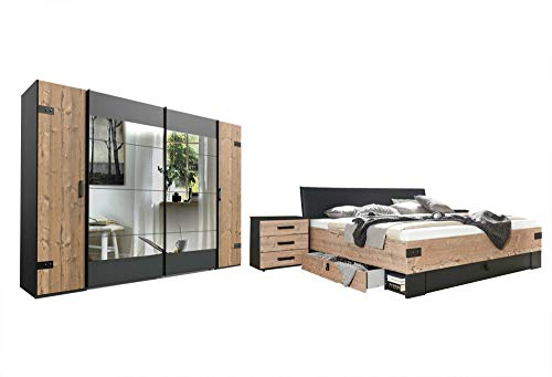 lifestyle4living Schlafzimmer Komplett Set in Silber Tanne-Dekor und Graphit, 4-teilig | Komplettset mit Drehtürenschrank, Bett und Nachtschränken im Industrial-Stil