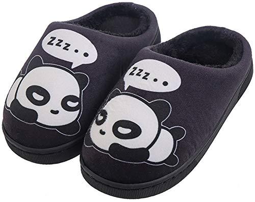 Zapatillas de Estar por Casa para Niñas Niños Otoño Invierno Zapatillas Mujer Hombres Interior Caliente Suave Dibujos Animados Panda Zapatos Negro 27/28 EU = 28/29 CN