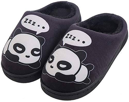 Zapatillas de Estar por Casa para Niñas Niños Otoño Invierno Zapatillas Mujer Hombres Interior Caliente Suave Dibujos Animados Panda Zapatos Negro 35/36 EU = 36/37 CN
