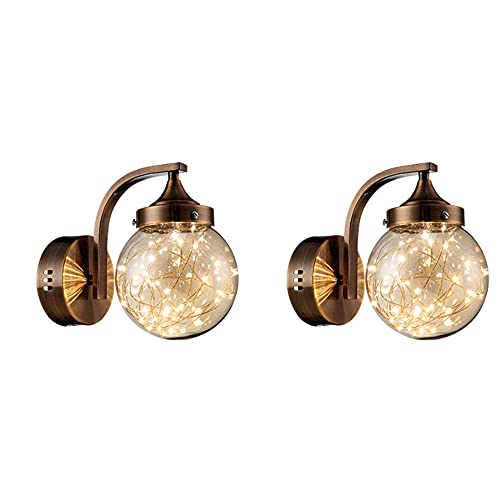 2 applique da parete, lampade da bagno a 1 luce, lampada da toeletta in metallo con paralume in vetro trasparente, lampada da parete industriale vintage per specchio da interno, soggiorno, corridoio