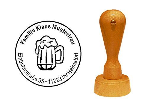 Stempel Motivstempel « BIERGLAS » Durchmesser ca. Ø 40 mm - mit persönlicher Adresse und Motiv - Gastronomie Kellner Imbiss Kneipe Restaurant Bier