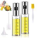 Pulverizador de Aceite,2 Pack Juego de pulverizador de aceite de oliva,Dispensador de Aerosol de vinagre y Niebla para cocinar para cocinar/Ensalada/Hornear Pan/BBQ/Cocina(100ML)
