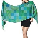 Cachemira de imitación Invierno Bufanda Chal d Cubo Patrón Cuadrados abstractos Diseño de formas geométricas de colores vibrantes Moderno Mantón para Mujeres Cálida Grande Larga