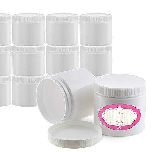 Pack of 12-4 Ounce Storage Jars with Lids & Labels - 4 oz Refillable Round Cosmetic Jars – White Cosmetic Lotions Containers - All-Purpose BPA-Free Plastic Pots – Lids with Inner Liners