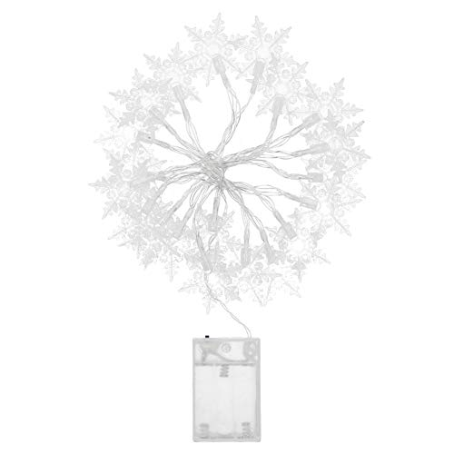 Mxtech 3m Waterproof 20 LEDs Easy to Install, Christmas LED Snowflake Light, Fairy String Lights, for Home Decor Indoor Outdoor Decor(White light)