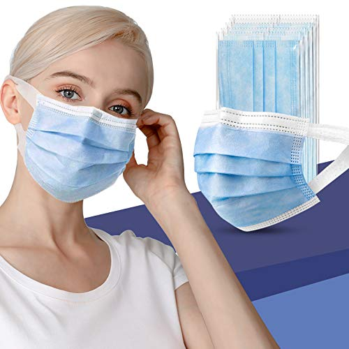 Disposable Face Masks for Women Men, Individually Wrapped Masks 3 Layers Breathable Mouth Masks with Elastic Ear Loop, Pack of 50