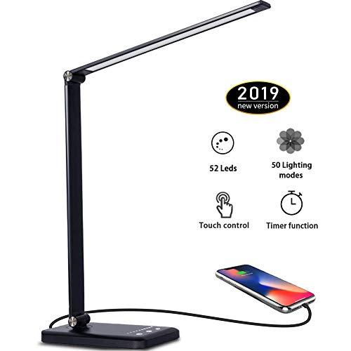 Lámpara Escritorio LED,5 * 10 Modos de Brillo con 52 SMD Leds Lámparas Mesa USB Recargable,2000mAh Plegable Flexo de Escritorio Control Táctil,Protege a ojos (Negro)