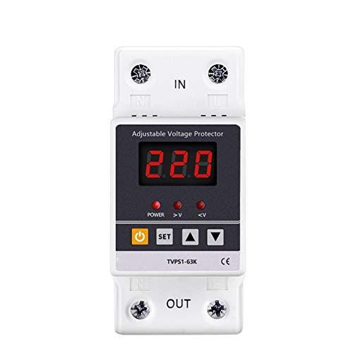 LUOXUEFEI Disyuntor Diferencial Interruptor 63A 220 V Carril Din Recuperación Ajustable Sobre Y Bajo Voltaje Dispositivo Protector Protector Relé Protección Contra Sobretensión