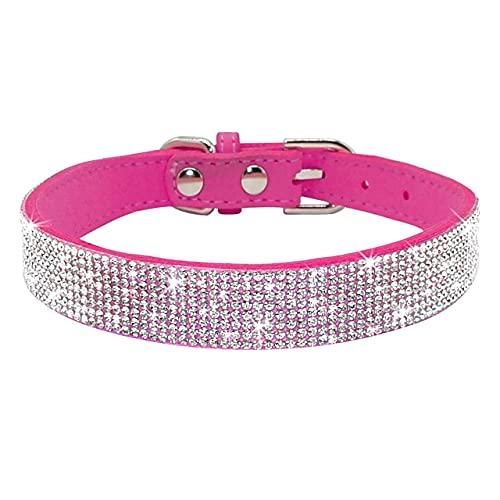 Collar de Gatito Bowknot de Cuero Ajustable con Diamantes de imitación para Cachorros y Gatos, para Perros pequeños y medianos, Gatos, 12rose, M