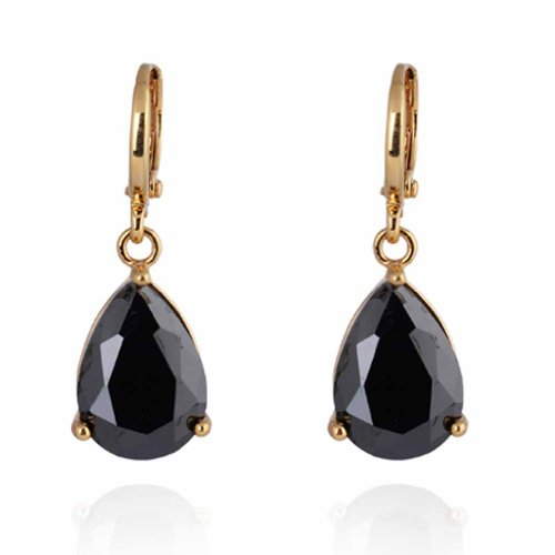 Yazilind Charming Smooth 18K Gold Plated Inlay Teardrop Black Cubic Zirconia Simple Design Dangle Drop Earrings for Women