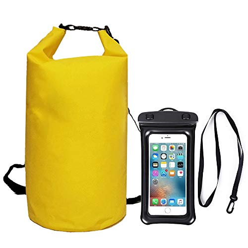10L Waterproof Drying Bag, Adjustable Shoulder Strap Water Drifting Bucket Bag + Oversized Waterproof Phone Case, Suitable for Kayaking/Boating/Canoeing/Fishing (Yellow)
