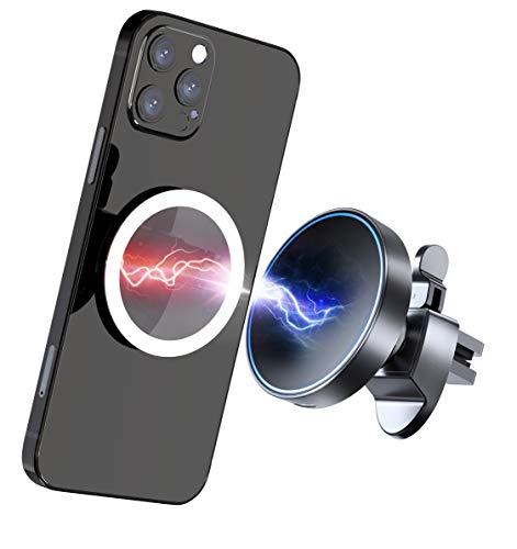 Gahwa Cargador Inalámbrico Coche Magnético con Pegatina Magnética, 15W Wireless Charger Car Carga Rapida Soporte Movil Coche para iPhone 12/12 Pro/12 Pro Max/12 mini/11, Galaxy S20 fe/S10/Note 20+