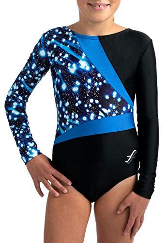 Fischer 8229 Turnanzug NELA Glitzereinsatz, Ökotex 100 Zertifiziert, Größe: 128, Farbe: schwarz-blau-blau