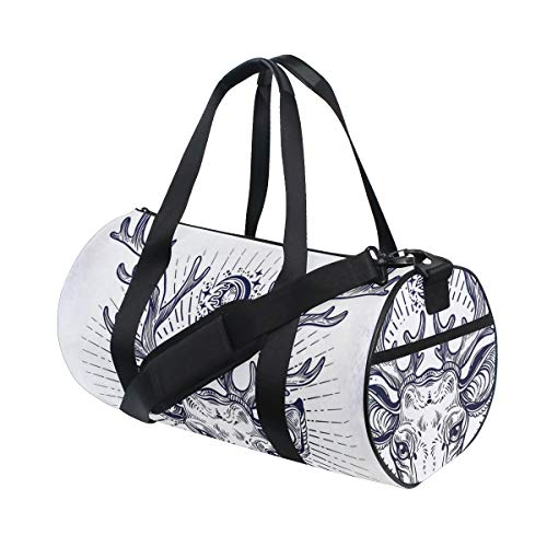 GEEVOSUN Fashion Print Gym Travel Duffle Bag Hipster Reindeer Head Sketch Beautiful Antlers Illustration Latest Personalized Carry-on Luggage Bag with Strap
