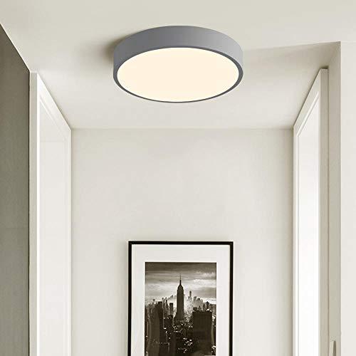 12W LED Deckenleuchte Kinderzimmer Deckenlampe ultra dünne Leuchte für Diele Flur Küche, nicht dimmbar 3000K warmweiß, Ø23 * H5cm (Grau)