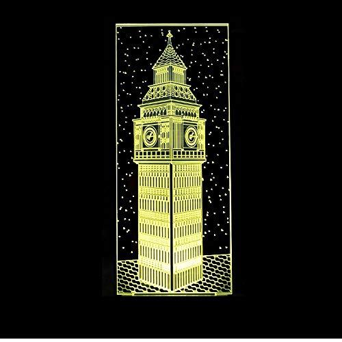 Layyqx 3D Visual Nachtlampje, kleurrijk, London, gebouwen, tafellamp, decoratie, slaap, verlichting, cadeau