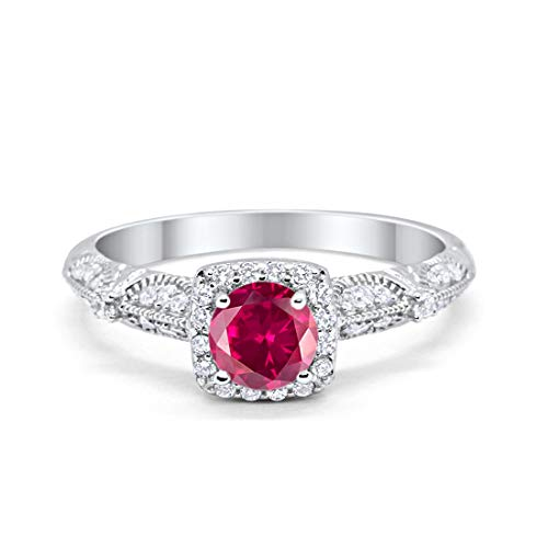 Blue Apple Co. Halo Art Deco Engagement Bridal Ring Wedding Solid Simulated Ruby Round Cubic Zirconia 925 Sterling Silver, Size-8