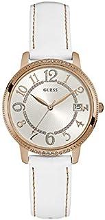 ساعة يد بمينا ابيض وعرض انالوج وسوار جلدي للنساء من جيس - W0930L1