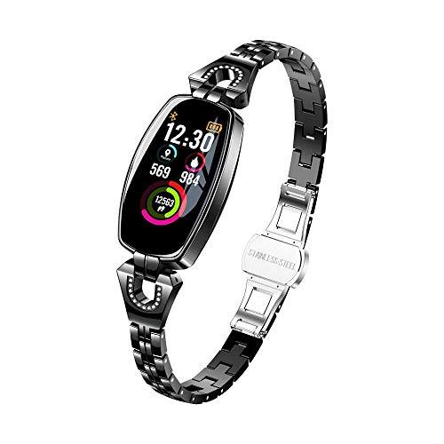 Tonsee Mode Fitness Armband Uhr Mit Pulsmesser für H8 Band Unisex Fitness Trackers Wasserdicht Farbbildschirm Smart Echtzeit Herzfrequenz Blutdruck Schlafüberwachung Laufsport Schrittzähler (Schwarz)