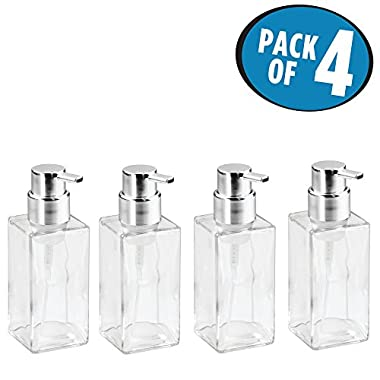 mDesign Foaming Soap Glass Dispenser Pump Bottle for Bathroom Vanities or Kitchen Sink, Countertops - Pack of 4, Square, Clear/Chrome